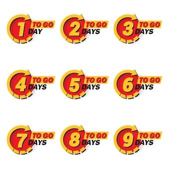 Conjunto de contagem regressiva de 1 a 9 dias restantes com seta e meio-tom em um apartamento. ícones do anúncio