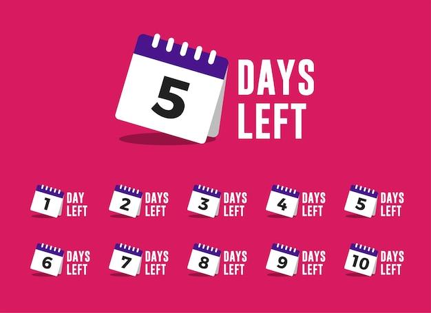 Conjunto de contagem regressiva de dias restantes com ilustração de calendário para promoção