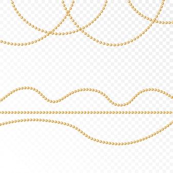 Conjunto de contas de ouro e correntes de ouro