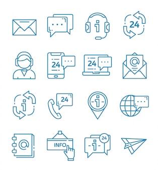 Conjunto de contato e suporte de ícones com estilo de estrutura de tópicos