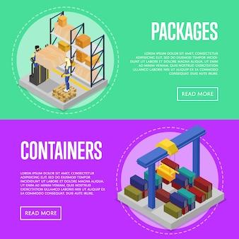 Conjunto de contêineres de embalagem e carga de entrega