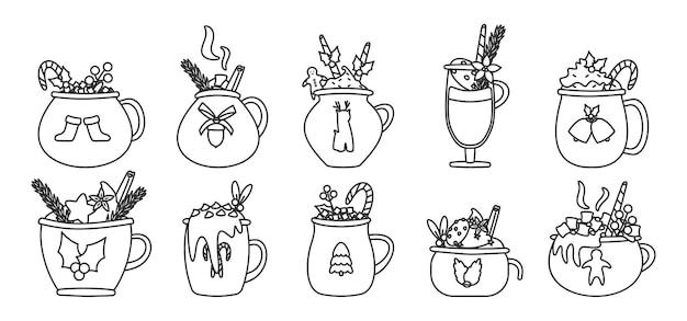 Conjunto de contorno de bebida de caneca de natal. cacau de férias com marshmallows, xícara de chocolate quente ou café de inverno. coleção vintage de ano novo de copo de modelo diferente com ilustração isolada de bengala