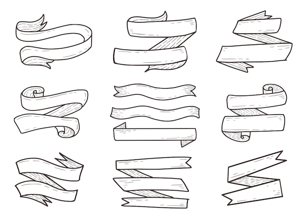 Conjunto de contorno de desenho de mão de fita