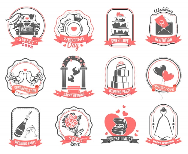 Conjunto de contorno de emblemas de noivado de casamento de casamento