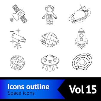 Conjunto de contorno de ícones de espaço