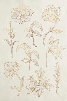 Conjunto de contorno floral dourado