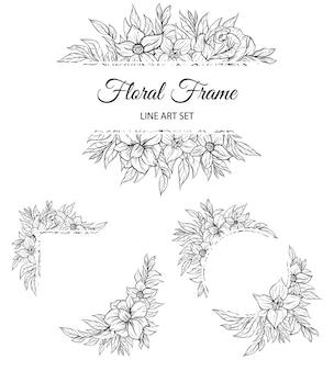Conjunto de contorno floral moldura backgroud borda decorativa