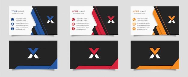 Conjunto de contorno geométrico design de cartão de visita