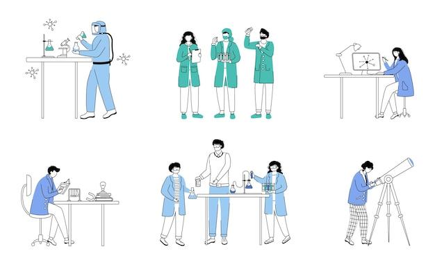 Conjunto de contorno plano de ciências práticas. atividades de química na escola. conduzindo experimentos. estudando biologia, esboço de desenho animado isolado de química