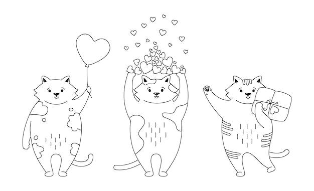 Conjunto de contorno preto de gato. gatinho engraçado desenhado à mão com corações, balão, presente e pacote