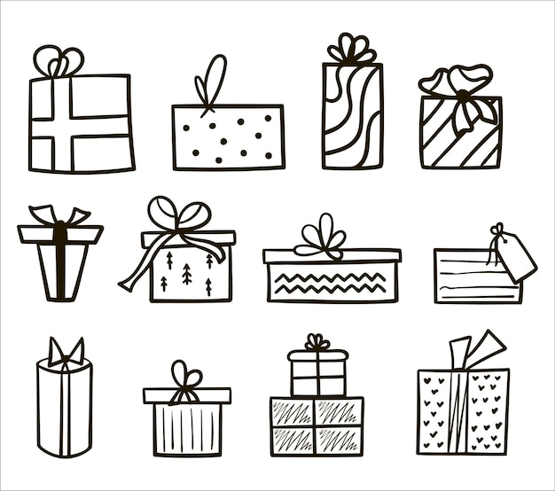 Conjunto de contorno preto desenhado de mão de caixas de presente de natal e ano novo em fundo branco. ilustração em vetor de coleção de presentes. doodle ícones presentes com arcos em estilo cartoon