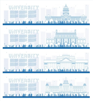Conjunto de contornos de banners de estudo universitário ilustração vetorial os alunos vão para o prédio principal