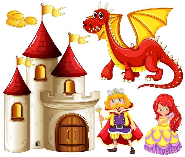 Conjunto de contos de fadas com dragão e castelo