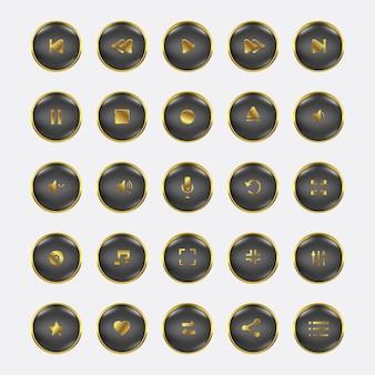 Conjunto de controle de áudio e vídeo ouro