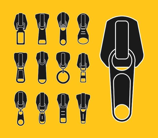 Conjunto de controles deslizantes de diferentes formatos para zíperes zip puxa coleção de estoque de cadeado preto