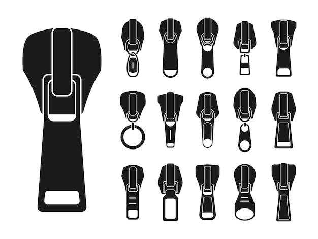 Conjunto de controles deslizantes de diferentes formatos para zíperes Vetor Premium