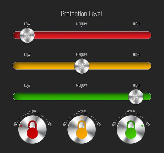 Conjunto de controles deslizantes e botões redondos para diferentes níveis de proteção