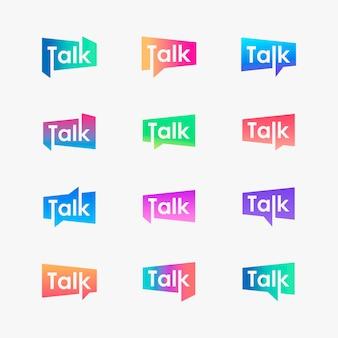 Conjunto de conversa letras com logotipo de bolha. conversar, falar, modelo de logotipo. falar modelo de logotipo.