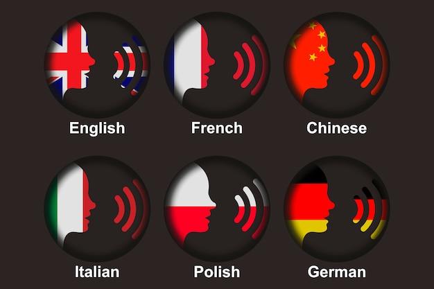 Conjunto de conversas em línguas estrangeiras