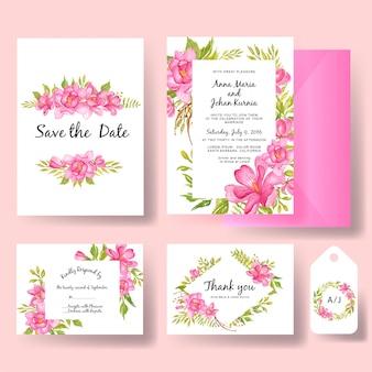 Conjunto de convite aquarela casamento flor magnólia rosa e folha de vegetação