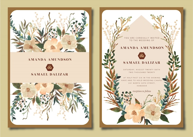Conjunto de convite de casamento com aquarela floral rústica