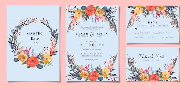 Conjunto de convite de casamento com aquarela floral tropis