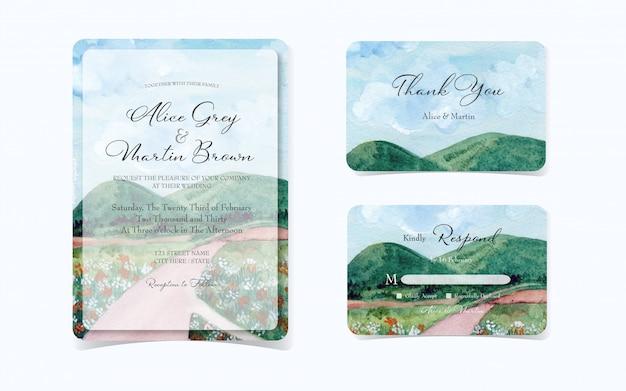 Conjunto de convite de casamento com bela paisagem