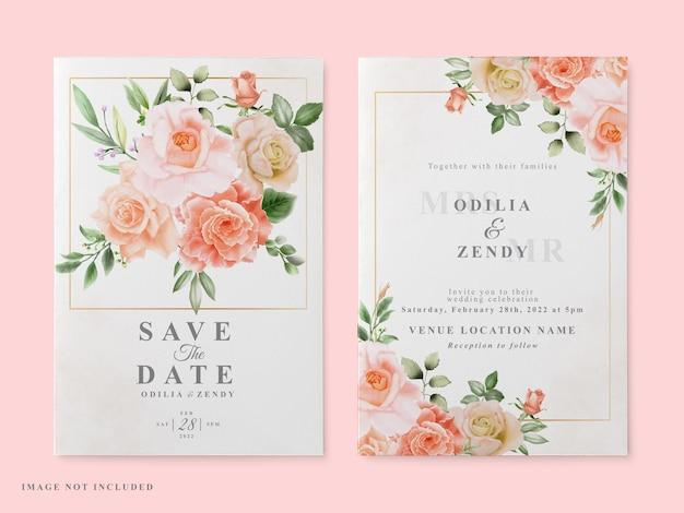 Conjunto de convite de casamento com desenho de rosa vermelha