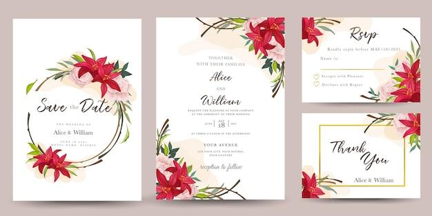 Conjunto de convite de casamento com flores de lírio
