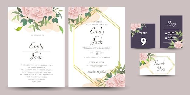 Conjunto de convite de casamento com flores rosas