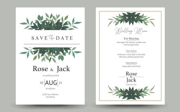 Conjunto de convite de casamento com folhagem