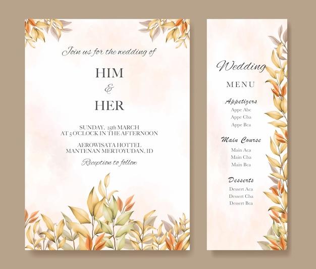 Conjunto de convite de casamento com folhas