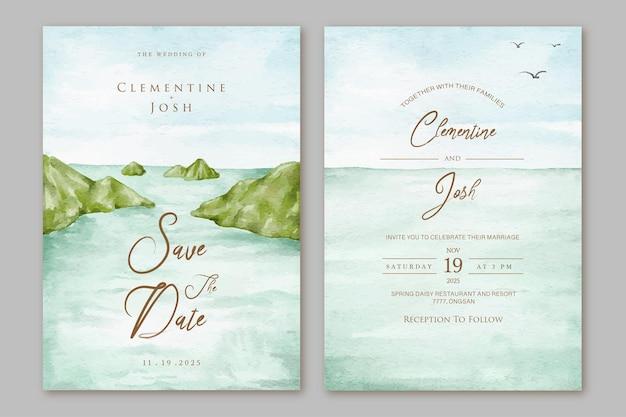 Conjunto de convite de casamento com fundo aquarela da ilha do oceano
