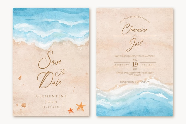 Conjunto de convite de casamento com fundo aquarela de verão praia mão desenhada