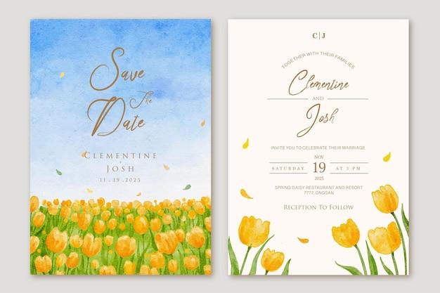 Conjunto de convite de casamento com fundo de campos de flores amarelas de primavera aquarela desenhada à mão Vetor Premium
