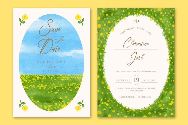 Conjunto de convite de casamento com modelo de fundo de paisagem de campo de flores desenhado à mão