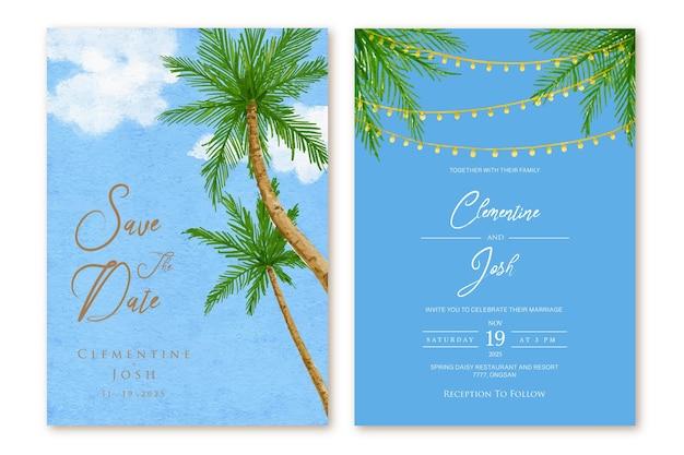 Conjunto de convite de casamento com modelo de fundo de paisagem de praia de palmeira em aquarela
