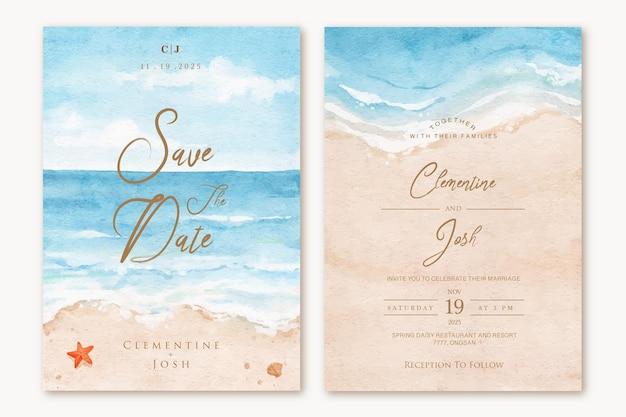 Conjunto de convite de casamento com modelo de fundo de paisagem de praia em aquarela