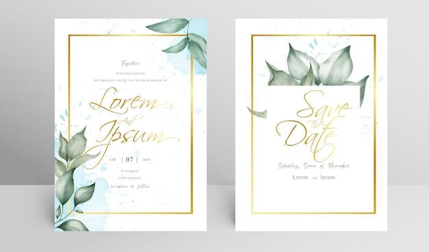 Conjunto de convite de casamento com moldura floral dourada