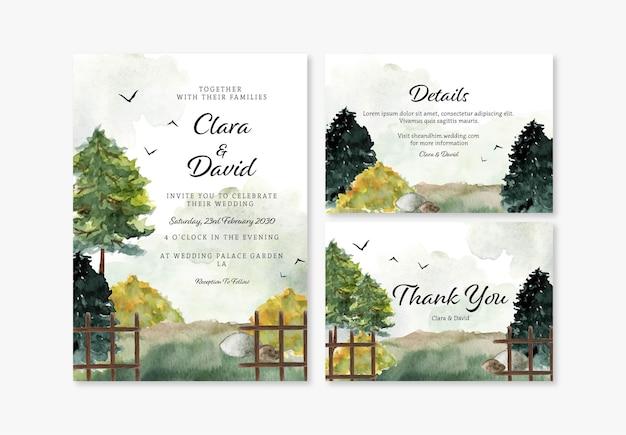 Conjunto de convite de casamento com paisagem deslumbrante
