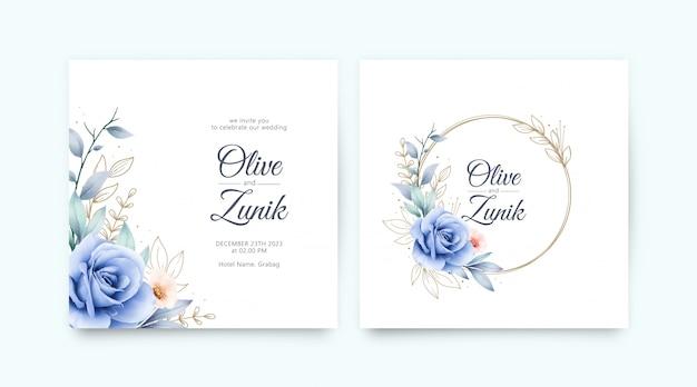 Conjunto de convite de casamento com rosas azuis aquarela e folhas de ouro