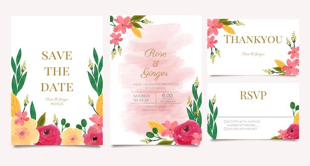 Conjunto de convite de casamento com tema aquarela floral rosa