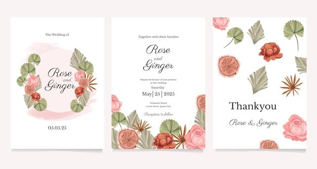Conjunto de convite de casamento com tema de flores