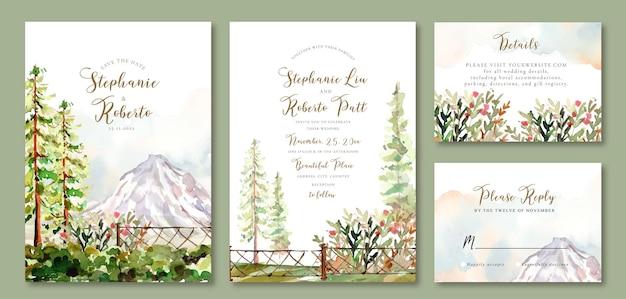 Conjunto de convite de casamento de aquarela paisagem de pinheiros no jardim