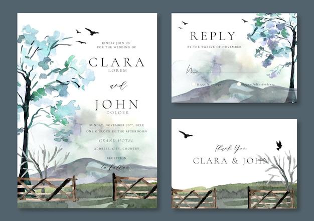 Conjunto de convite de casamento de árvores e montanhas de paisagem em aquarela