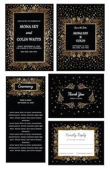 Conjunto de convite de casamento de coleção de casamento dourado com flores confete