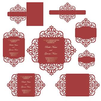 Conjunto de convite de casamento de corte a laser. modelo para corte a laser. portão dobrável, quatro dobras, designs de bandas de barriga.