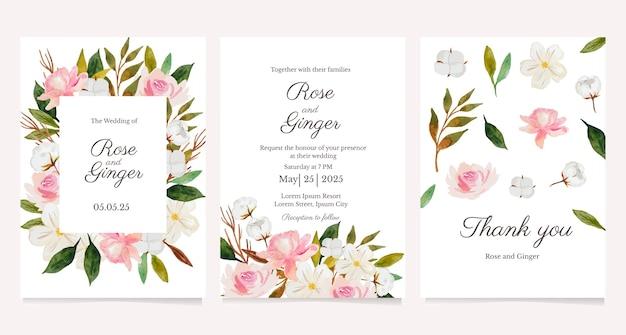 Conjunto de convite de casamento de flores em aquarela