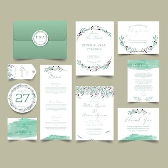 Conjunto de convite de casamento de folha verde