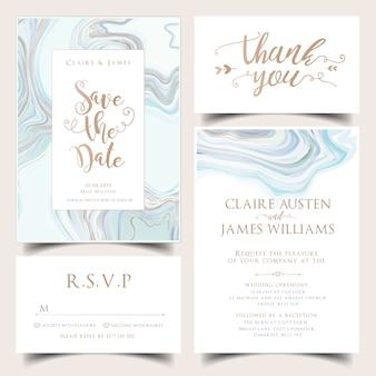 Conjunto de convite de casamento de hortelã